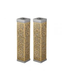 TALL SQUARE CANDLESTICKS WITH METAL CUTOUT BRASS