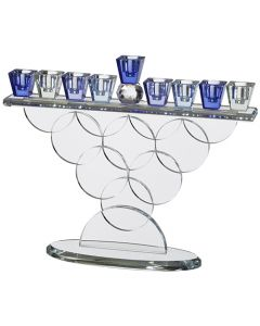 Crystal Menorah 32*23cm- Colorful blues.