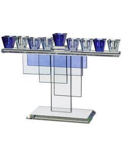 CRYSTAL MENORAH 28*20CM - BLUE
