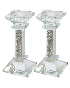 CANDLESTICKS SILVER SPEICES - PLATE ON CRYSTAL 15CM