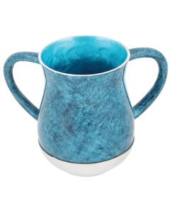 WASH CUP MARBLE BLUE - METAL