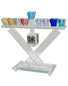 Crystal Menorah 28*15cm with Dreidel and Multicolored Branches