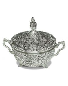 HONEY DISH SILVER FILIGREE / SILVER PLATED