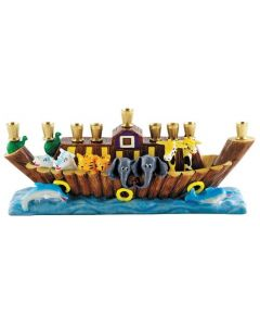 "Ceramic Noah's Ark Menorah, 10"" wide"