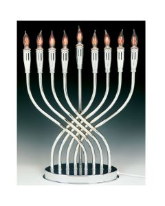 "Electric Menorah - Highly Polished Chrome ""Illumination"" 14"""