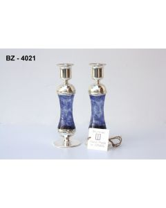 GLASS AND SILVER DESIGNER CANDLESTICKS MADE IN ISRAEL - BLUE