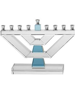MENORAH CRYSTAL BLUE ACCENTS