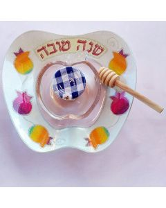 Colorful Glass Honey Dish and Tray