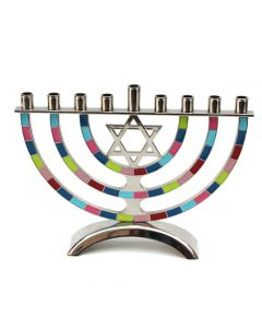 Colorful Chrome Menorah with Star of David, 7""