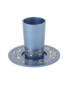 Kiddush Cup and Plate, Blue Aluminum with Silver Lace Design