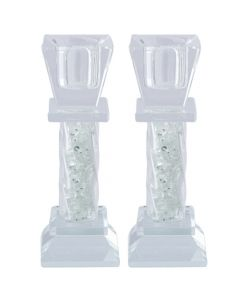 ELEGANT CRYSTAL CANDLESTICKS WITH DECORATIVE STONES