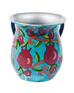 Wash Cup, Hand Painted Aluminum, Pomegranates