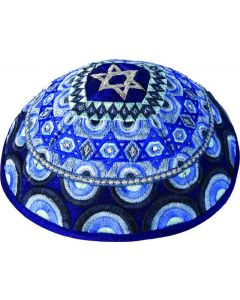 KIPPAH EMBROIDERED MAGEN DAVID BLUE