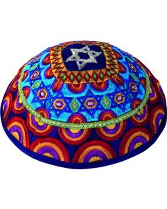 KIPPAH EMBROIDERED MAGEN DAVID MULTICOLOR