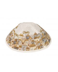 KIPPAH EMBROIDERED JERUSALEM GOLD