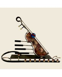 MENORAH METAL AND FUSED GLASS HANDCRAFTED INSTRUMENT
