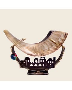 SHOFAR STAND METAL AND FUSED JERUSALEM