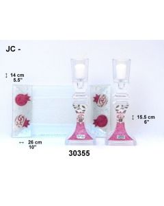 GLASS DESIGNER CANDLESTICKS MADE IN ISRAEL - PINK POMEGRANATE