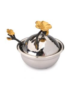 Honey Dish, Black and Gold over Hammered Metal