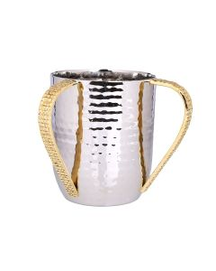 WASHCUP GOLD MOSAIC HANDLES/ HAMMERED STAINLESS STEEL