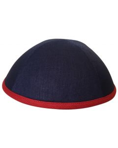 KIPPAH LINEN NAVY - RED RIM