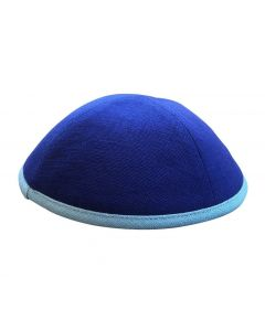 KIPPAH LINEN ROYAL BLUE- LIGHT BLUE RIM