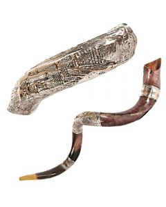 YEMENITE SHOFAR SILVER DECOR LARGE