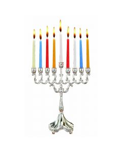 Silver Plated Candle Menorah 8""