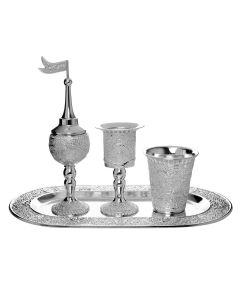 HAVDALAH SET FILIGREE OVAL - SILVER PLATED