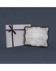 RECTANGLE WOODEN AND SILVER CHALLAH BOARD