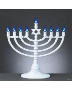 LED Electric Menorah - Battery or USB - White