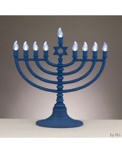 LED Electric Menorah - Battery or USB - Blue