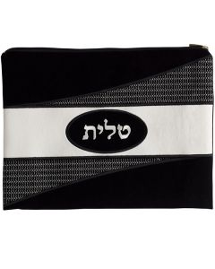 Tallit Bag, Suede Look, Black Oval