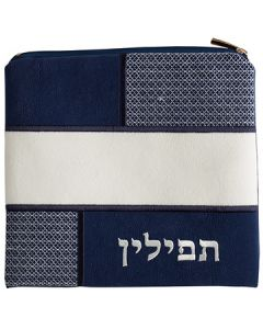 Tefillin Bag, Suede Look, Blue and White Patches