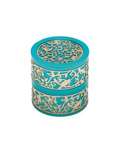 TRAVEL CANDLESTICK W/ METAL CUTOUT -- TURQUOISE
