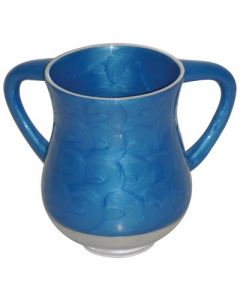 Wash Cup, Metal, Blue Swirls