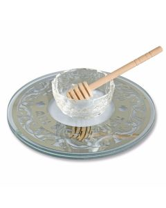 Glass and Metal Honey Dish with Pomegranate Theme