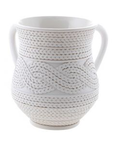 Wash Cup, Polyresin, White Braided Rope