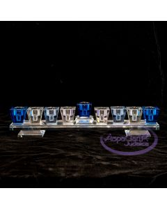 Crystal Menorah - Blue Tones Bar - BESTSELLER!!!