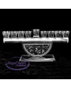 Crystal Menorah with Silver Jerusalem Face