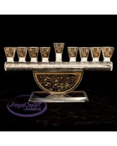 Crystal Menorah with Gold Jerusalem Face