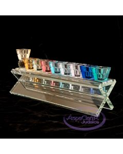 Colorful Crystal Menorah on Geometric Bench