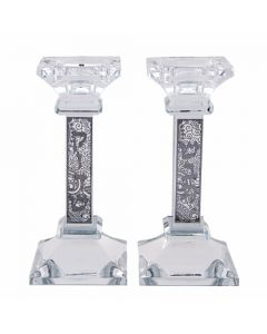 Crystal Candlesticks 16 cm with Laser Cut Metal Plaque