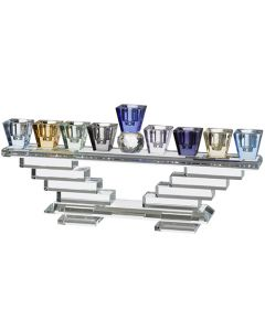Crystal Menorah with Multicolored Stacked Glass