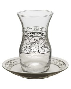 Glass Kiddush Cup 10 cm with Ceramic Saucer