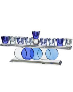 Crystal Menorah 28*11cm- Colorful Blue