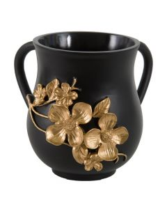 Elegant Polyresin Washing Cup 14 cm - Black and gold flowers.