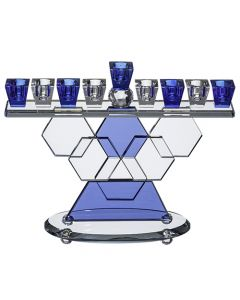 Crystal Blue Hexagon Shaped Menorah