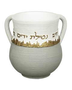 WASHCUP GRAY AND WHITE W/ GOLD