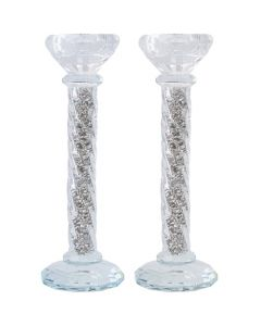 Crystal Candlesticks 22 cm - Silvered Stones.